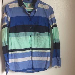 J.Crew half button striped shirt